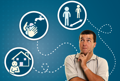 Man in thinking pose with though bubbles visualising housing, hand-washing and social distancing
