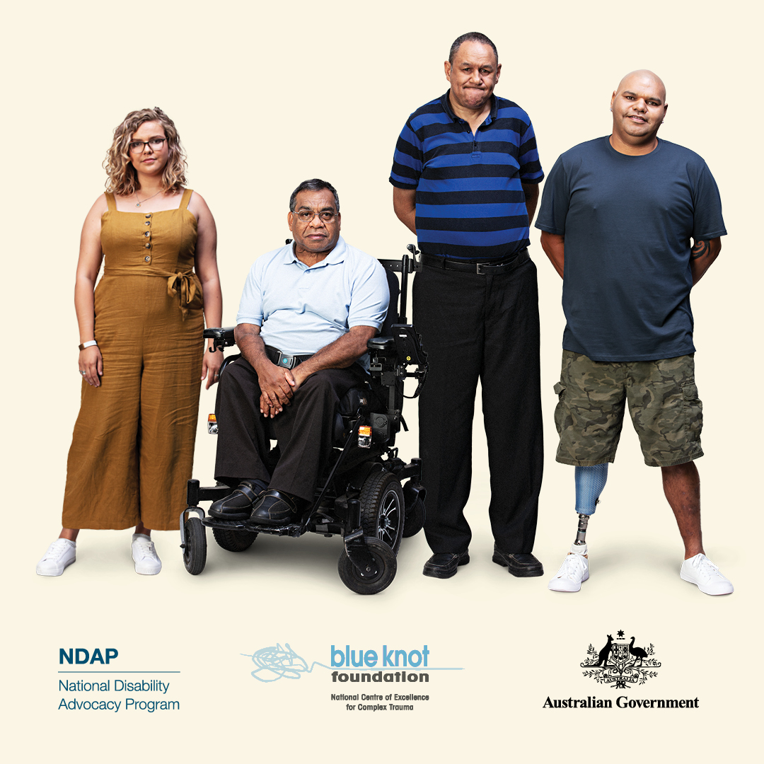 People, some with visible disabilities, against pale yellow background - with NDAP, Blue Knot and Australian Government logos
