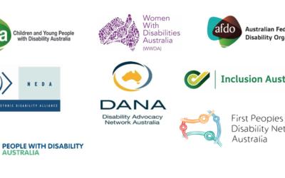 Logos of PWDA, CYDA, WWDA. FPDN, NEDA, AFDO, Inclusion Australia and DANA