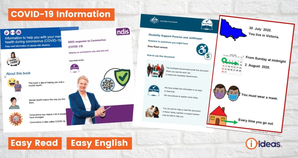 Images of Easy Read resources about COVID-19 arrangments