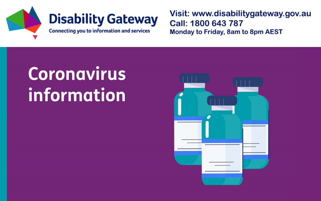 Purple background featuring three vaccine bottles and white text to the left of the bottles 'coranavirus information' and above the Disability Gateway logo and by line 'connecting you to information and services' and contact details 'Visit www.disabilitygateway.gov.au. Call 1800 643 787 Monday to Friday 8am to 8pm AEST. See Less